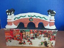 Holiday Expressions~Hand Painted Porcelain Snowy Brick Bridge~Christmas Village