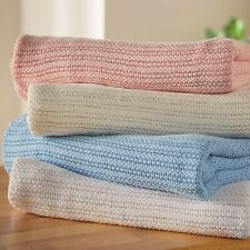 Ultra soft,Cozy, Breathable,100% Cotton Cellular Blanket, 6 Sizes and 6 Colours