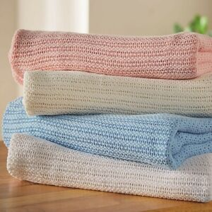 Ultra soft,Cozy, Breathable,100% Cotton Cellular Blanket, 6 Sizes and 6 Colors.