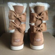 UGG SHORT MEILANI DOUBLE BAILEY BOW CHESTNUT SUEDE FUR BOOTS SIZE US 6 WOMENS