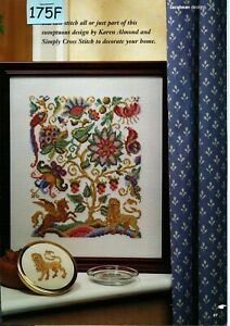 Jacobean Flowers Counted Cross StitchNeedlepoint Pattern PDF Chart Instant Download Wall Art or Pillow
