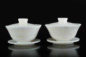 L581: Japanese Stone jade/jewels TEA BOWL/dish of soup 2pcs, Tea Ceremony