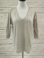 Majestic Paris Top Light Gray Cotton Size 3 V-Neck 3/4 Sleeve Tee
