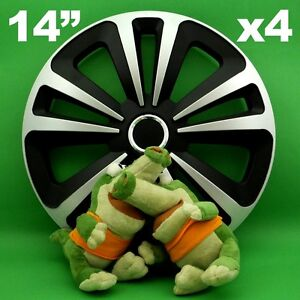 """Radkappen 14"""" Terra ★ 4 Stück ★ SILBER+SCHWARZ für HONDA Civic Logo DAEWOO Lanos"""