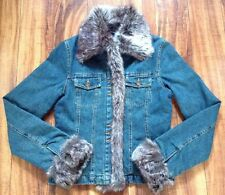 ABSOLUTELY GORGEOUS! BN Blanc Noir Outerwear Lined Denim Jean Jacket Faux Fur XS