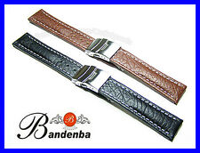 18mm 20mm 22mm 24mm Banda Bandenba Deployment Clasp Leather Watch Band Strap $48