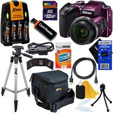 Nikon COOLPIX B500 16MP 40x Zoom Digital Camera,Plum + Batts.& Charger +32GB Kit