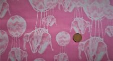 RIDDLES AND RHYMES ELEPHANT FLIGHT PINK 100% COTTON MATERIAL QUARTER HALF METRE