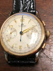 VINTAGE BUCHERER CHRONOGRAPH GOLD PLATED MENS WRIST WATCH WORKING GREAT