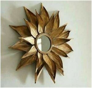 New Flower Design Golden Finish Round Mirror For Hall & Living Room