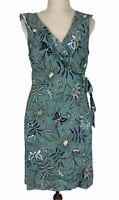 Tokito Petites Womens Green Floral Linen Blend Sleeveless Wrap Dress Size 12