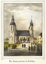 EISLEBEN - ST.-ANDREAS-KIRCHE - Saxonia - kolorierte Lithografie 1834