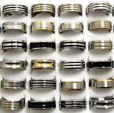 Enamel/Silver/Gold Stainless Steel Men's Fashion Ring 18pcs Top Mix lot of Black