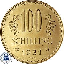 Austria 100 chelines 1929 moneda de oro I. república moneda en münzkapsel