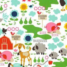 Fat Quarter Farm Life White Cotton Quilting Fabric - Michael Miller CX4934