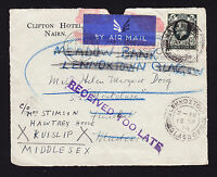 KGV 1930s FRONT of cover addressee on SS Montclare Madeira Received Too Late