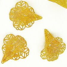G136- 4pcs Golden Color Filigree Lily Petal Cone Caps