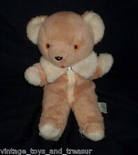 "11"" VINTAGE AVLON BROWN TAN TEDDY BEAR ZIPPER COAT STUFFED ANIMAL PLUSH TOY OLD"