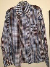Ben Sherman Mens Button Down Shirt Blue Red White Plaid Long sleeve W logo M