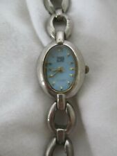 Faded Glory Analog Watch with Silvertone Bracelet and Blue Dial WORKING!