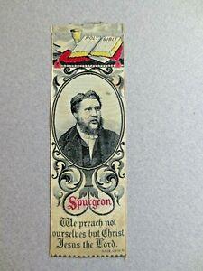 Antique SILK BOOKMARK Stevengraph Religious SPURGEON Baptist Preacher Holy Bible