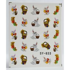 Nail Art Water Decals Stickers Transfers Easter Bunny Rabbit Eggs Chicken (833)