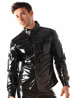 Honour Men's T-Shirt Glossy Black PVC Top with Chest Patch Pockets Longsleeved