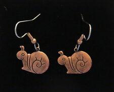 Snail Earrings Antiqued Copper Dwadler Mail Slug Dilly-Dallier Straggler Garden