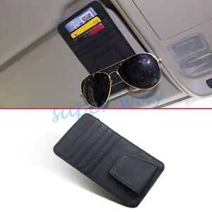 Black Leather Car Sun Visor Accessories Glasses Shelf Card Case Catcher Pockets