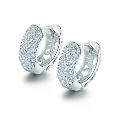HUCHE Classic Silver White Gold Filled Diamond Crystal Huggies Women Earrings