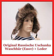 Original Russische Wintermütze Fellmütze Pelzmütze Uschanka aus Waschbär + Leder