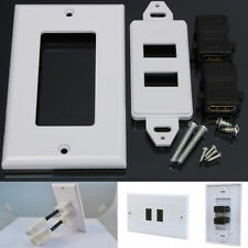 2-Port HDMI Ethernet Wall Face Plate Panel Coupler Outlet Extender White LJ