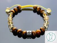 Leo Citrine Tigers Eye Birthstone Bracelet 6-9'' Macrame Healing Stone Chakra