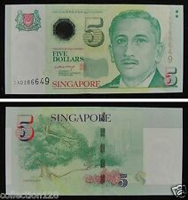 Singapore Banknote 5 Dollars Unc, Signature Lee Hsien Loong