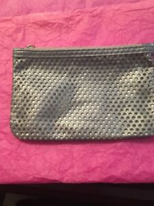 """IPSY Make Up Bag Pouch Gray Dot Cutout & Silver Accents 7"""" x 4.5"""" zipper new"""