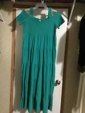 Cottonseed Dress S Made In Mexico Green Cold Shoulder Maxi Resort Wear Casual