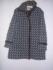 Nine West Woman, winter dressy coat, fur trimmed, brown, turquoise & white
