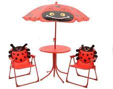 Kinder Gartenset  Gartenmöbel 2 Klappstühle 1 Tisch 1 Sonnenschirm Marienkäfer