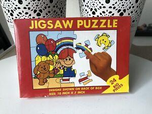 Vintage Kids Jigsaw Puzzle Big 24 Pieces 1980's Animal Bear Rabbit Hong Kong Toy