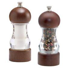 "Chef Specialties 6"" Walnut & Acrylic Vanguard Salt & Pepper Mill / Grinder Set"