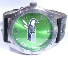 Men Nfl Seattle Seahawks Watch Football Team Black Band Silver Case Green Sparo