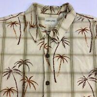 Joseph & Feiss Button Up Shirt Mens 2XL XXL Short Sleeve Tan Tropical Print Silk