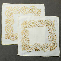 Linens Tableware Napkin 100% Pure Linen Vintage #03 Embroidered Gold Lot of 2