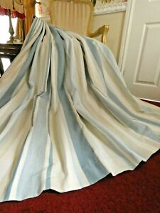 """Pair of LAURA ASHLEY Lined CURTAINS Awning stripe Seaspray blue 78""""w x 74""""D"""