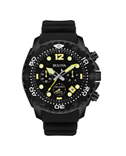 Bulova Men's Sea King 49mm Black Rubber Band IP Steel Case Quartz Watch 98B243
