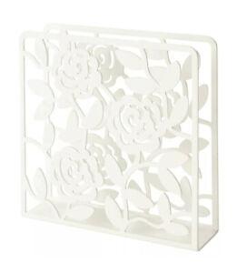 IKEA LIKSIDIG Napkin Serviette Holder White Floral Rose Design Metal New