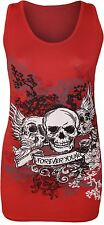 New Womens Danger Skull Sequin Fitted Vest Top 8-14
