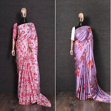 Saree Floral Saree Indian Japan satin silk Print Designer Saree Party Wear Saree