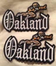 "(2) VINTAGE IRON ON EMBROIDED PATCH OAKLAND RAIDERS 4""x 2""1/2"" (Lot Of 2) Nice!"