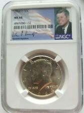 1964 D KENNEDY HALF DOLLAR NGC MS 64 90% SILVER FIRST YEAR OF ISSUE SIG LABEL